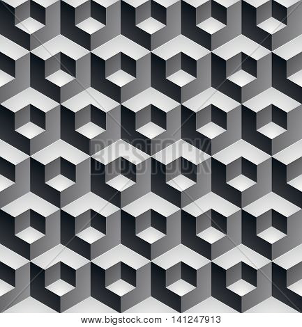 Geometric seamless pattern endless black and white vector regular background.