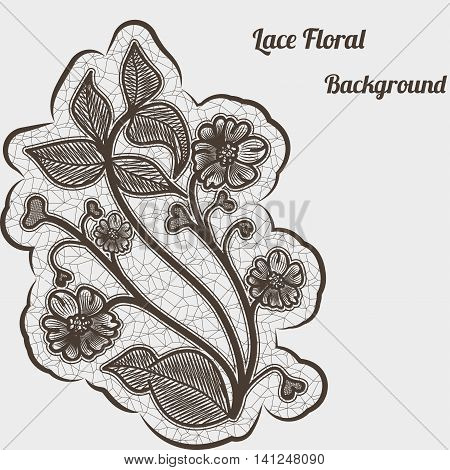 Background with black lace flower. For design greeting cards and invitations. Vector illustration.