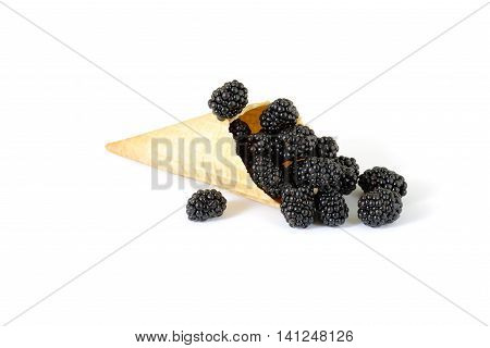 solated cornet with fresh mulberry on white background