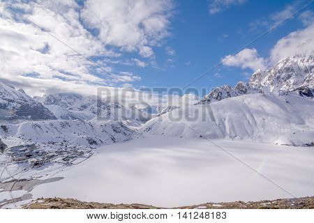 Everest Base Camp Trekking: half way to the base camp at the Gokyo Lake, covered by snow.