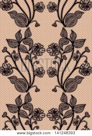 Seamless lace pattern. Black fishnet flowers on a pink background. For design invitations and greeting cards. Vector illustration.