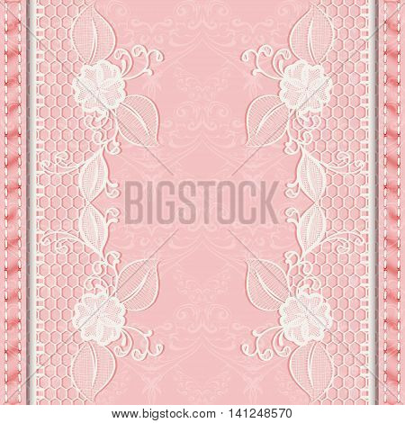 Template greeting or invitation card with lace fabric. Pink background. Vector illustration.