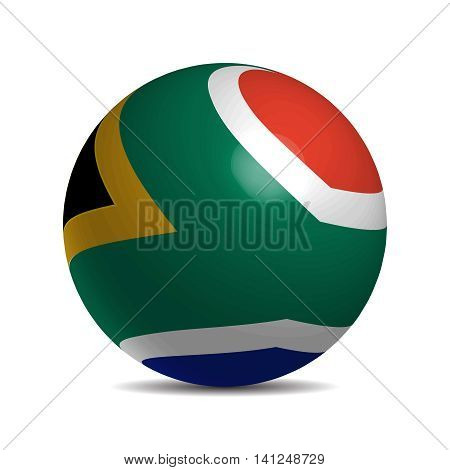 South Africa flag on a 3d ball with shadow, vector illustration
