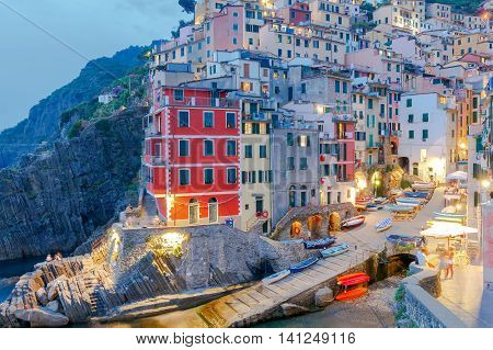 Riomaggiore village in the Cinque Terre National Park on the sunset. Italy. Liguria.