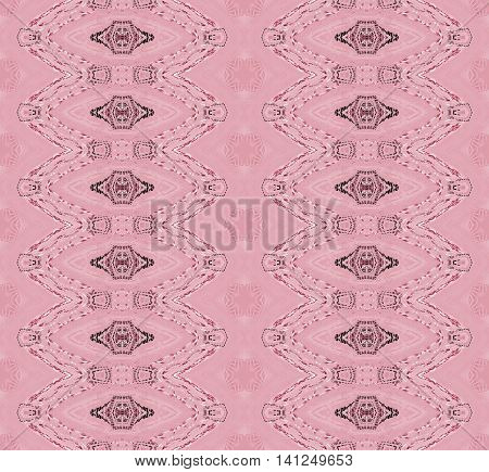 Abstract geometric seamless retro background. Regular ellipses pattern in pink shades with brown and black elements.