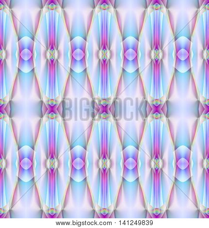 Abstract geometric seamless background. Regular ellipses and diamond pattern in light blue, violet and purple shades, shiny and dreamy.