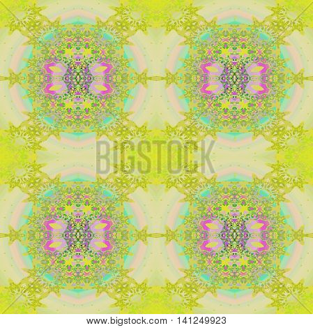 Abstract geometric seamless retro background. Delicate circles and ellipses ornament lemon lime green, turquoise, violet, purple, pink and beige, ornate and dreamy.