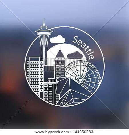 Seattle USA detailed one line stamp . Trendy vector illustration, Linear landmarks.