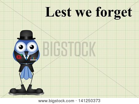 Lest we forget with veteran wearing medals and remembrance day poppy on graph paper background with copy space for own text