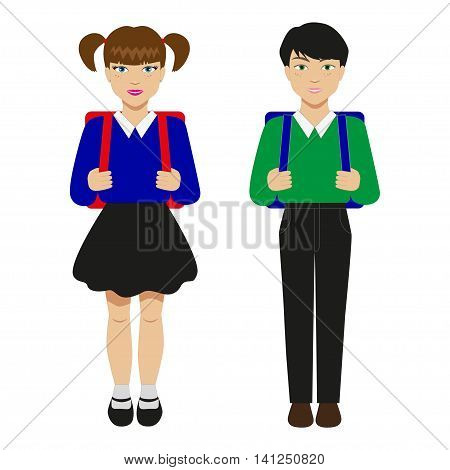 Vector illustration of two children with schoolbags. Pupils isolated on white background.