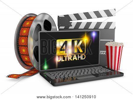 4K laptop popcorn and film strip on a white background. 3d render.