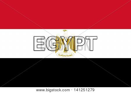 Illustration of the Flag of Egypt with the word Egypt written on the flag