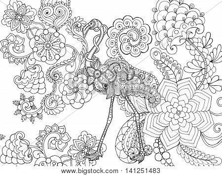 Beautifull flamingo in flower garden. Animals. Hand drawn doodle. Ethnic patterned illustration. African indian totem tatoo design. Sketch for avatar tattoo poster print or t-shirt.