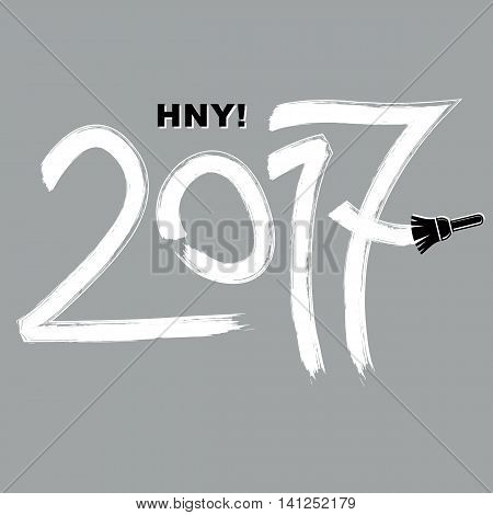 2017 vector illustration Happy New Year inscription made with brushstrokes drawn with painting brush.