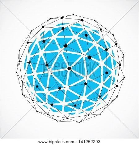 Abstract vector low poly object with black lines and dots connected.