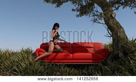 3d illustration of the young asian woman wearing lingerie posing on red sofa outdoor