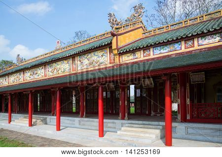 A fragment of the old gallery Palace of the forbidden Imperial city. Hue, Vietnam