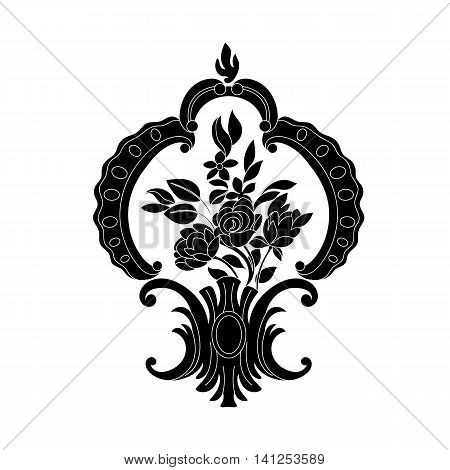 Black and white floral ornamental pattern with flowers, decorative pattern, blossom pattern, tattoo patern, curl pattern, rose pattern, decor vintage, bloom vintage, bouquet vintage, plant vintage, ornate vintage. Vector.