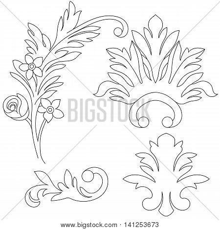 Vintage flowers, vintage elements, vintage sketch, floral vintage, branch vintage, rose vintage, pattern vintage, lace vintage, bouquet vintage. Vector.