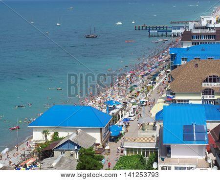 Lazarevskoe, Sochi, Russia - June 30, 2014: Top view of the beach of the village Lazarevskoe Black Sea coast