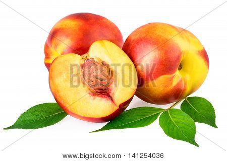 Nectarines in closeup isolated on white background