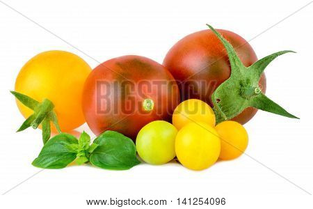 Tomatoes red and yellow organic vegetables on white background