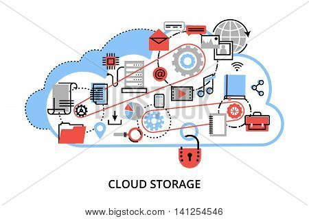 Modern flat thin line design vector illustration concept of remote cloud data storage cloud computing technologies and protect computer networks for graphic and web design