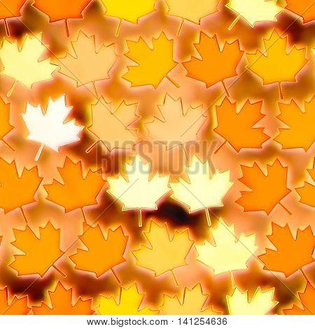 Seamless colorful maple leaf texture illustration illuminated