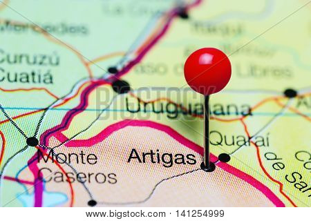 Artigas pinned on a map of Uruguay