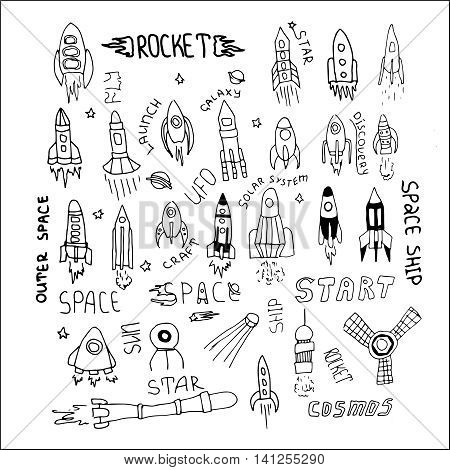 Set of hand drawn rockets. Vector illustration for outer space ship spacecraft satellite comet in cartoon style