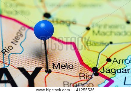 Melo pinned on a map of Uruguay