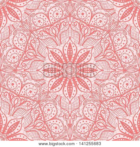 Pink seamless pattern of round lacy napkins. Vector illustration.