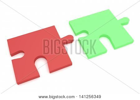 Light Red And Green Puzzle Pieces 3d illustration