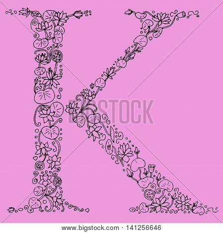 Flower type. Letter K. Hand drawn letter. Floral font.