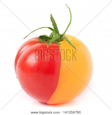 red yellow tomato isolated on white background.