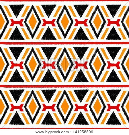 Ikat damask seamless pattern. Black, red, yellow elements on a white background. Vintage vector illustration.