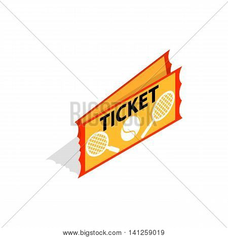 Tennis ticket icon in isometric 3d style isolated on white background