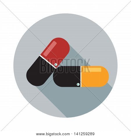 Pill iconmodern flat icon with long shadow