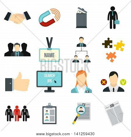 Flat human resource icons set. Universal human resource icons to use for web and mobile UI, set of basic human resource elements isolated vector illustration