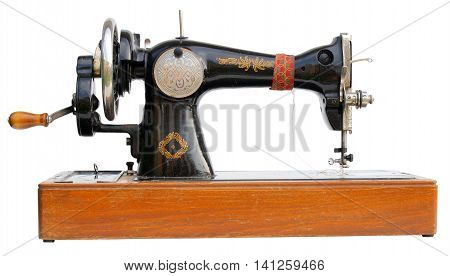 antique sewing machine isolated on white background