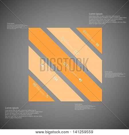 Illustration infographic template with shape of square rectangle. Object askew divided to five parts with orange color. Each part contains Lorem Ipsum text, number and sign. Background is light dark.