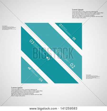 Square Illustration Template Consists Of Four Blue Parts On Light Background