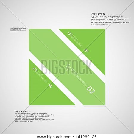 Square Illustration Template Consists Of Three Green Parts On Light Background