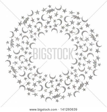 Silver textured space round frame of the star, moon and comet on white background. Design template for banner, greeting card, invitation, postcard, emblem etc. Vector illustration.