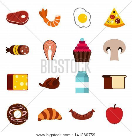 Flat food icons set. Universal food icons to use for web and mobile UI, set of basic food elements isolated vector illustration