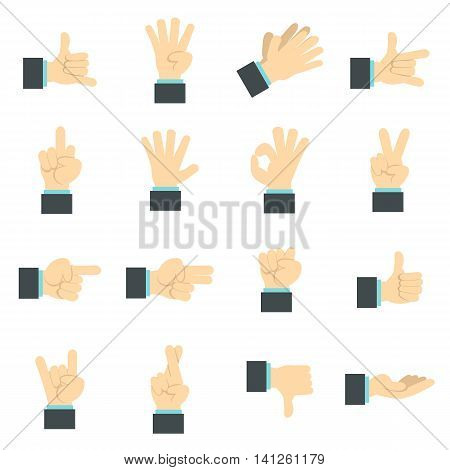 Flat hand icons set. Universal hand icons to use for web and mobile UI, set of basic hand elements isolated vector illustration