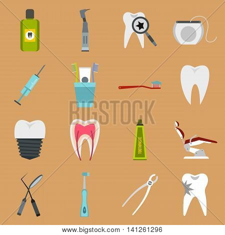 Flat dental icons set. Universal dental icons to use for web and mobile UI, set of basic dental elements isolated vector illustration