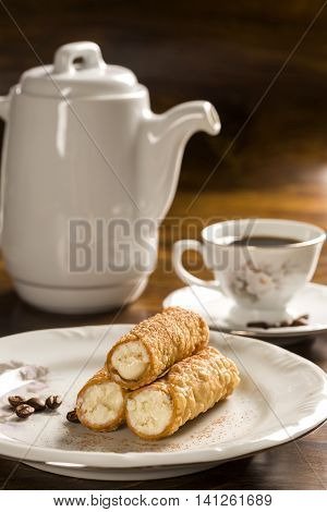 Typical Sicilian Pastries Called Cannoli With Amarena Listed In Pastry