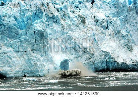 The Margene Glacier calving into glacier bay in August 2013