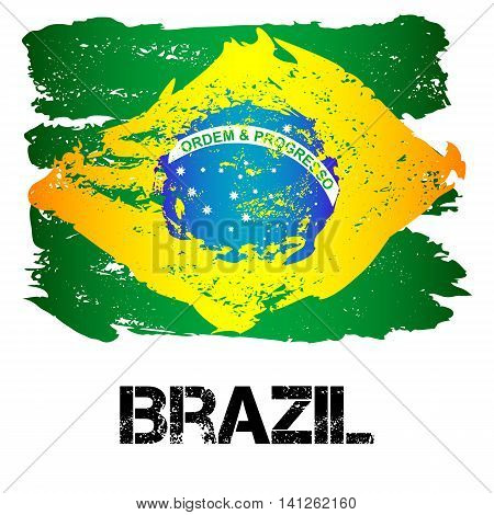 Flag Of Brazil From Brush Strokes